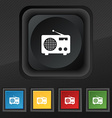 Retro radio icon symbol Set of five colorful vector image
