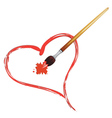 Paintbrush and Red Heart vector image