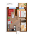 modern one bedroom apartment top view vector image