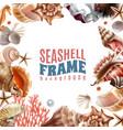 seashell realistic frame vector image vector image