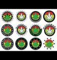 marijuana cannabis green leaf symbol stamps vector image