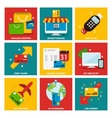 Credit cards nine flat items concept vector image vector image