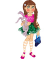 girl with bunny and bag vector image