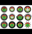 marijuana cannabis green leaf symbol stamps vector image