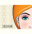 poster design with caucasian woman face vector image