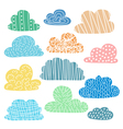Set of hand drawn clouds with cute texture vector image