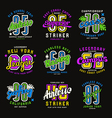 Set of sport emblems surfing racing rugby vector image