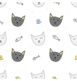 Happy cats seamless pattern with fishes and squids vector image