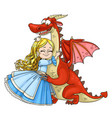 little princess hugs dragon isolated on white vector image vector image