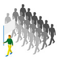 flag bearer and lot of people behind vector image