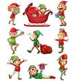 Playful Santa elves vector image