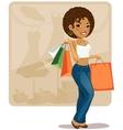 Cartoon shopping girl vector image vector image
