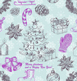 Seamless Christmas pattern in sketch style vector image