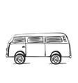 car icon in doodle sketch lines bus vector image