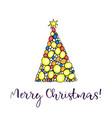 christmas tree merry christmas greeting card vector image