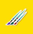 paper sticker on stylish background brushes vector image
