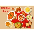 Main dishes of dinner icon for menu design vector image