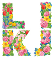 Alphabet of flowers IJKL vector image
