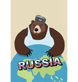 Russian bear soldier in ear flaps and a t-shirt vector image