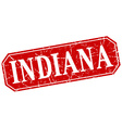 Indiana red square grunge retro style sign vector image