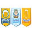 banners for oktoberfest with girl and beers vector image