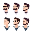 flat cartoon hipster character set vector image