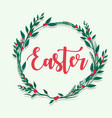 happy easter lettering with flower flame vector image