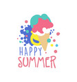 happy summer logo label for summer holiday vector image
