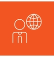 Man with globe line icon vector image