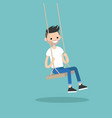 young bearded man sitting on the swing editable vector image