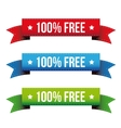 100 percent free ribbon set - red blue green vector image