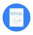 Western movie icon in black style isolated on vector image