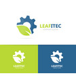 gear and leaf logo combination mechanic vector image