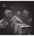 Flying gray transparent cubes abstract background vector image