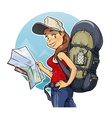 Tourist girl with rucksack vector image vector image