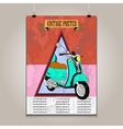 Vintage poster with high detail scooter vector image