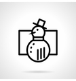 Black simple line snowman icon vector image