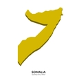 Isometric map of Somalia detailed vector image vector image
