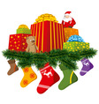 Christmas gifts with sock vector image