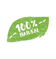 hundred percent natural product letters in grunge vector image