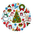 round template with christmas icons vector image