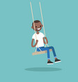 young black guy sitting on the swing editable vector image