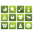 Flat baby and children icons vector image vector image