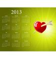 European 2013 calendar vector image vector image