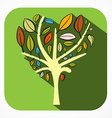 Tree Flat Design Abstract Plant in Green Rounded vector image