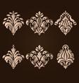 set of damask ornamental elements vector image