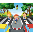 Three students at the zebra crossing vector image