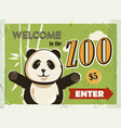 grunge retro metal sign with panda welcome to the vector image