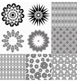 Set of monochrome geometric patterns vector image