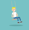 young blond boy sitting on the swing editable vector image